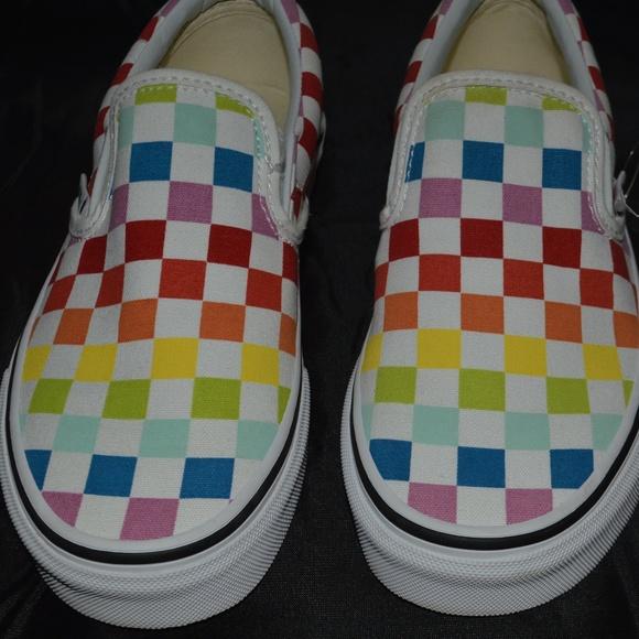 Vans Slip On Rainbow Skate Shoe Multi Checker Wms.